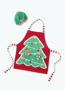 Red Kids Christmas Apron & Hat (57cm x 50cm) Cooking Kitchen