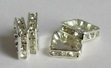 Rhinestone Square Spacer Beads 6 8 10mm Sizes Choice Quantities Crafts/Jewellery