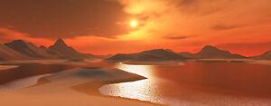 "Sunset Lake 10""X30"" Long Canvas Picture Orange Water Wall Art Print Super Scene"