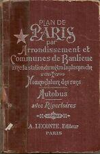 PLAN DE PARIS PAR ARRONDISSEMENT ET COMMUNES DE BANLIEU A.LECONTE EDITEUR