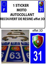 1 sticker plaque immatriculation MOTO TUNING 3D RESINE  BLASON PORTUGAL DEPA 31