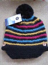 NEW ROXY Pom Pom Beanie HAT Knit Winter Stripes Black