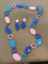 Vintage Necklace & Earring Set Blue Pink Plastic Mod Style Western Germany