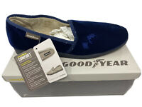 Blue Goodyear Official License Leo Mens Comfort Memory Foam Slippers Warm