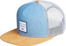 BILLABONG MENS BASEBALL CAP.STACKED TRUCKER FLAT PEAK BLUE WHITE MESH HAT 8W 2 2