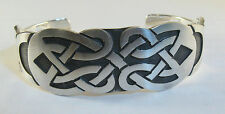 "925 sterling silver cuff bracelet Celtic knot design matte finish  7/8"" wide"