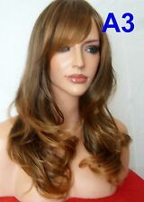 Women Brown Auburn Ombre Wig Real Natural Long Wavy Full Cosplay Ladies Wigs A3