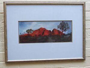 VINTAGE AUSTRALIAN ORIGINAL W/COLOUR  RED MOUNTAIN NT. ART PAINTING ESTATE FIND