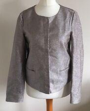 Noa Noa Size Euro 38 Ladies Long Sleeve Silver Blazer Coat Jacket