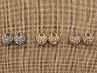Authentic Origami Owl Pave Crystal Heart Earring Drops - NEW