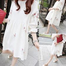 Korean Women Casual Cotton Linen Floral A Line Slim Loose Tunic Summer Dress 2XL