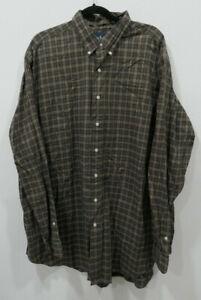 Men Ralph Lauren Classic Fit Brown Checks Long Sleeve Shirt Size 2XLT Cotton