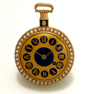 ANTIQUE THOMAS BROWN GOLD POCKET WATCH CA1820S 18K GOLD, PEARL BEZEL, ENAMEL