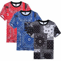 Men's Casual Bandana Printed short sleeve Hip Hop T-Shirt Tee Top Black Blue Red