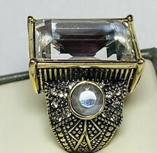 Heidi Daus Chunky Clear Crystal Square Emerald Cut Ring Size 7.5