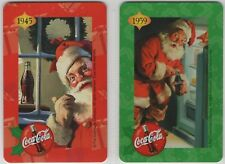 2 swap playing cards; ad; Coca Cola, Christmas, Santa Claus