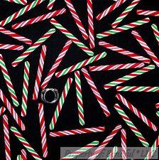 BonEful Fabric FQ Cotton Quilt Black Red Green White Xmas Candy Cane Bias Stripe