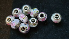 10 PINK/WHITE  GLASS BEADS WITH PINK ROSES