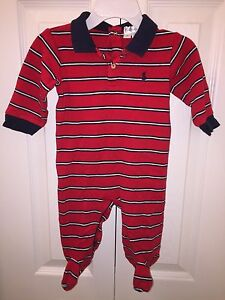 USED RALPH LAUREN 9 MO NAVY BLUE RED WHITE STRIPED ONE PIECE LAYETTE POLO
