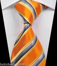 New Classic Stripes Gold Blue White JACQUARD WOVEN 100% Silk Men's Tie Necktie