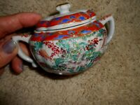 CANTON Famille Rose Mustard Pot 19th Cent Export Porcelain Chinese c1800s