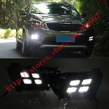 2x White LED DRL Daytime Day Fog Lights Run lamps For Kia Sportage R 2014-2015
