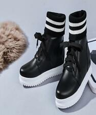 Women Wedge Heels Ankle Boots Platform Striped Cuffed Lace  Leisure Shoes New