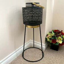 Aztec Black Metal Home Pillar Candle Holder Lamp Hurricane Lantern Tripod Stand
