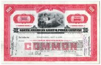 North American Light & Power Company Stock Certificate 100 Shares
