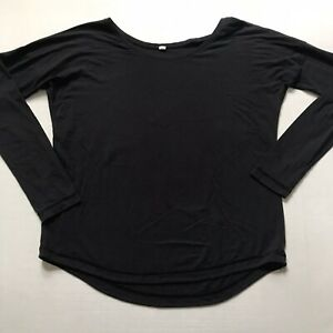 Under Armour Womens Black Long Sleeve Scoop Wide Neck Curved Hem Top Thumb Holes