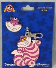 Disney Parks Cheshire Alice in Wonderland Cat Lanyard Medal & Pin - NEW
