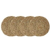 4Pcs Cattail Straw Round Woven Placemats for Dining Table,Rattan Table Mat C3Q3
