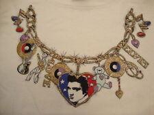Vintage 90's Elvis Presley Glitter Necklace Art Rockabilly T Shirt Adult Size L
