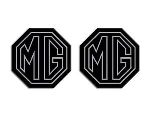 MG ZR ZS LE500 Style MK1 Car Insert Badges Fits 59mm Emblems Silver Stroke Black