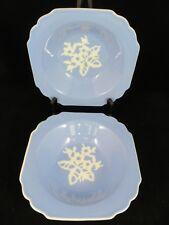 "Vintage Harker Pottery Cameo ware  Set of 2 Square Blue Bowls Serving 8 1/2"""