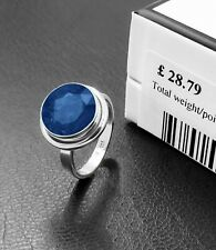 Premium 925 Sterling Silver SAPPHIRE Facet Cut Gemstone Ladies Ring Gift Boxed
