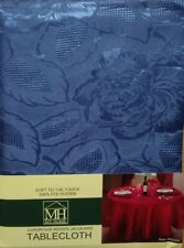FLORAL JACQUARD ROYAL BLUE SOFT TOUCH RECTANGLE OBLONG TABLE CLOTH 52x70 INCHES