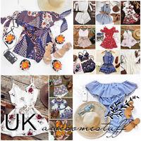 UK Womens Crop Top Mini Playsuit Ladies Jumpsuit Summer Beach Dress Size 6 - 14