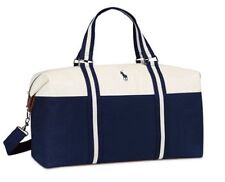 Ralph Lauren Polo Duffle gym weekender travel blue white carry on shoulder bag