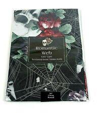 "New Romantic Web Halloween Skull Roses Black Tablecloth 70"" Seats 4-6"