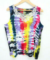 Women's Tie Dye Sleeveless Tank Top Hand Dyed with Lace Edging - Size XXL