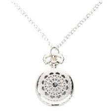 Men Women Pocket Watch Quartz Silver Alloy Pendant Necklace Pocket Deco WS