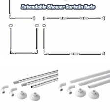 Corner Shower Curtain Uu0026L Shape 4 Way Rod Pole Bath Rail White Or Chrome