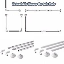 Corner Shower Curtain UL Shape 4 Way Rod Pole Bath Rail White Coated Chrome