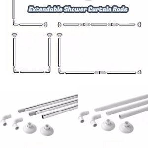 Corner Shower Curtain U&L Shape 4 Way Rod Pole Bath Rail  White Coated/Chrome