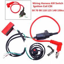 Universal Dirt Bike Wiring Harness Kill Switch Ignition Coil CDI Set 50cc-150cc