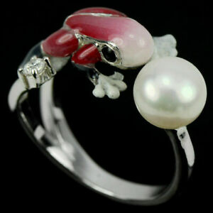AAA WHITE PEARL CABOCHON & CZ STERLING 925 SILVER ENAMEL FROG RING FREE SIZE