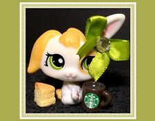 Littlest Pet Shop Bunny Rabbit #1417 White and Yellow STARBUCKS