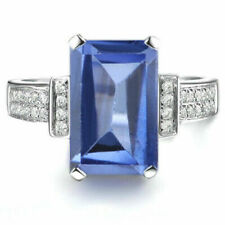 Rectangle Shape 2 CT Natural Blue Tanzanite 925 Sterling Silver Anniversary Ring