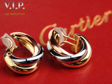CARTIER TRINITY OHRRINGE OHRCLIPS CREOLEN 18K/750er TRICOLOR GOLD EARRINGS LARGE